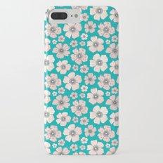 Pink Roses On Teal Slim Case iPhone 7 Plus