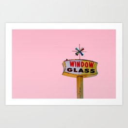 Atomic Pink Starburst - Vintage Googie-Style Sign with Pink Background Art Print