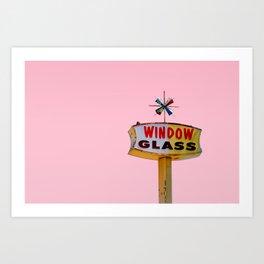 Atomic Pink Starburst - Vintage Googie-Style Sign with Pink Background Art Print