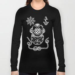 Deep Sea Diver Helmet Illustration Invert Long Sleeve T-shirt