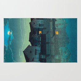 Kawase Hasui Vintage Japanese Woodblock Print Japanese Village Under Moonlight Cloudy Sky Rug
