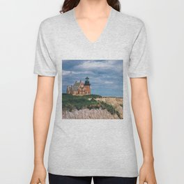 Block Island, Rhode Island Southeast Lighthouse at Mohegan Bluffs Unisex V-Neck