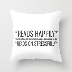 Reads Happily Throw Pillow