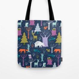 winter woodland animals Tote Bag