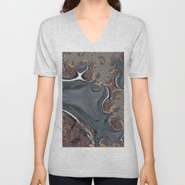 Coffee Swirl - Abstract Fractal Art by Fluid Nature Unisex V-Neck