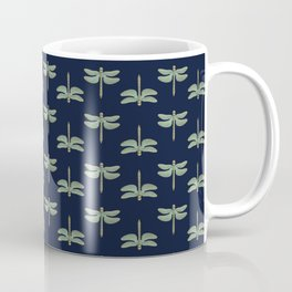 Repeating Dragonfly Shapes Dusty Teal Navy Blue Vintage Look Coffee Mug