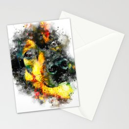 dog 2 splatter watercolor Stationery Cards