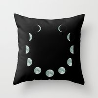 moon phases Throw Pillows featuring Moon phases by ShaMiLa