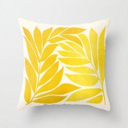 Mid Mod Vines - Yellow Throw Pillow