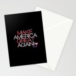 Make America Great Again w/ Trump Trumpet & Flag logo - black Stationery Cards
