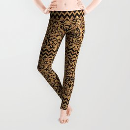 Golden Renaissance Damask Leggings