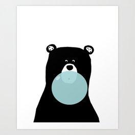Bear with gum art, modern bear, woodland art, baby bear, peekaboo bear, nursery, kids,children,bear Art Print