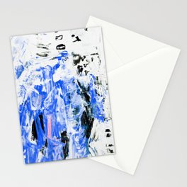 Painting, Modern Art. gradient, gouache acrylic paint in palette knife technique, abstract texture hand drawn. blue pink black white Stationery Cards