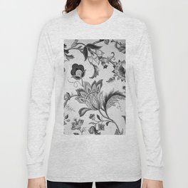 Floral Black and White Long Sleeve T-shirt