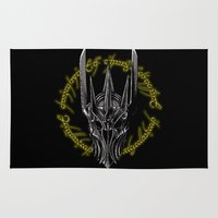 middle earth Area & Throw Rugs featuring The Dark Lord of middle Earth by ddjvigo