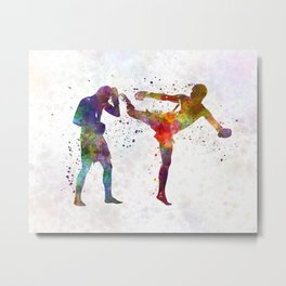 Two men exercising thai boxing silhouette 01 Metal Print