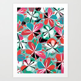 Contemporary composition of colorful abstract flowers on a light green background, cheerful and colo Art Print