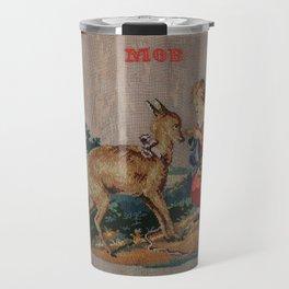 Sweet Antique Sampler about Love, Girl Feedig a Roe Deer. Made in 1892 Travel Mug