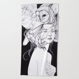 Woman with Owl Familiar Beach Towel