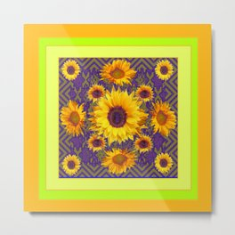 Gold Color & Yellow Sunflowers Garden Purple Pattern Art Metal Print