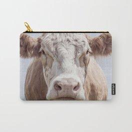 Animal Photography | Cow Portrait Colour | Minimalism | Farm Animals Carry-All Pouch