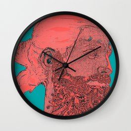 hipster Neptune Red Wall Clock