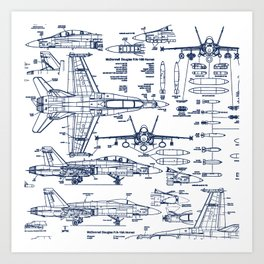 F-18 Blueprints // Blue Ink Art Print