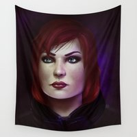 mass effect Wall Tapestries featuring Mass Effect: Commander Shepard by Ruthie Hammerschlag