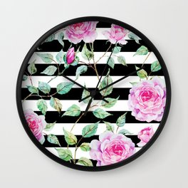 Roses, Pink Floral, Black and White Stripes Wall Clock