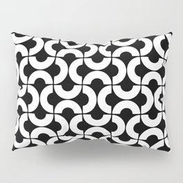 White and Black Mid-Century Modern Geometric Pattern Pillow Sham
