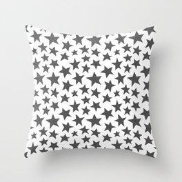Grey Doodle Stars Throw Pillow