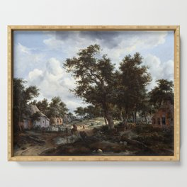 Meindert Hobbema and Abraham Storck A Wooded Landscape with Travelers on a Path through a Hamlet Serving Tray