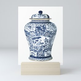 Blue & White Chinoiserie Cranes Porcelain Ginger Jar Mini Art Print