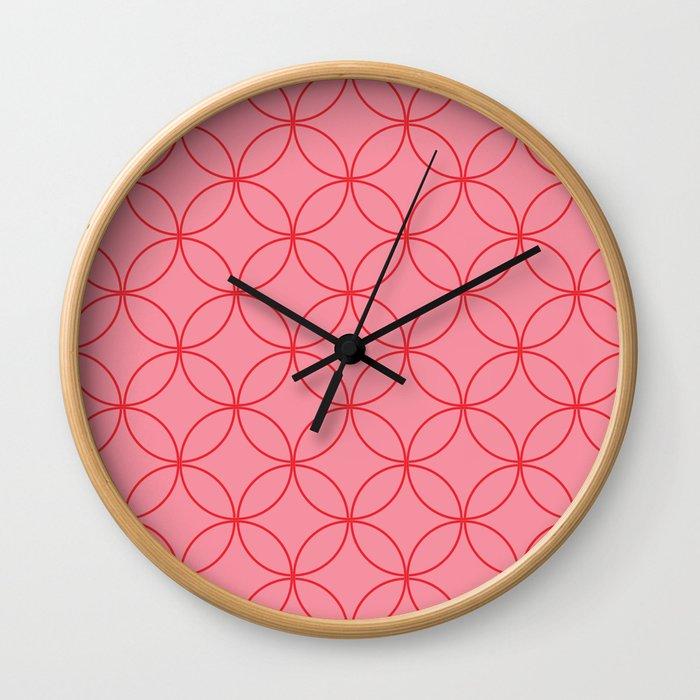 Moorish Circles - Pink & Red Wall Clock