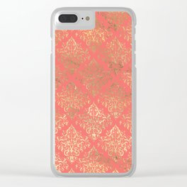 Coral Gold Damask Pattern Clear iPhone Case