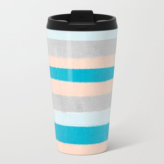 Painted stripes minimal bright summer palette boho striped decor minimalist Metal Travel Mug