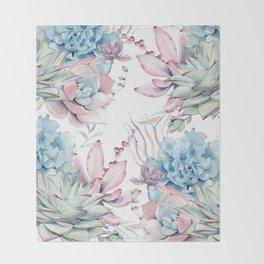 Pretty Pastel Succulents Garden 2 Throw Blanket