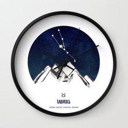 Astrology Taurus Zodiac Horoscope Constellation Star Sign Watercolor Poster Wall Art Wall Clock