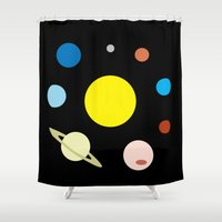 solar system Shower Curtains featuring Solar System by fairandbright