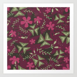 Shamrock Floral Layered Pattern / Purple Art Print