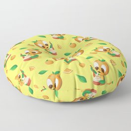 Orange Bird Citrus Swirl Floor Pillow