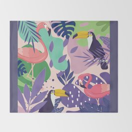 Tropical Jungle With Flamingos And Toucans Memphis Style Throw Blanket