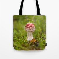 mushroom Tote Bags featuring Mushroom by Mirella von Chrupek
