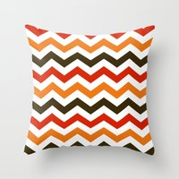 thanksgiving Throw Pillows featuring Thanksgiving Chevron by Designs By Misty Blue (Misty Lemons)