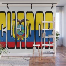 Ecuador Font With Ecuadorian Flag Wall Mural