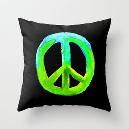 Turquoise Lime Watercolor Tie Dye Peace Sign Throw Pillow