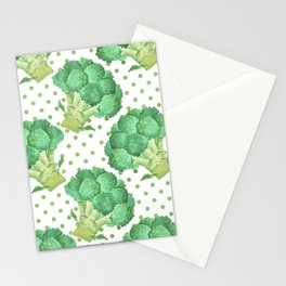 Broccoli on Green dotted Background Stationery Cards