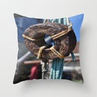 tool Throw Pillows featuring fisherman's tool by  Agostino Lo Coco