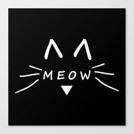 Meow Black Cat Canvas Print