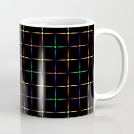 Neon diamonds. Pattern or background of multicolored neon stars on a black background Coffee Mug